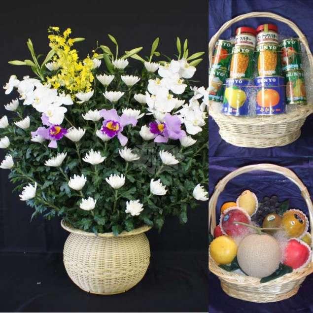 <strong>供花・供物</strong><br>プラン付属の祭壇花以外の供花や果物、缶詰等の供物のご注文を承っております。