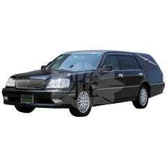 <strong>国産洋型霊柩車 (標準選択)</strong><br>お宮の付かないシンプルな洋型霊柩車です。 *配車状況により車種が異なる場合がございます。